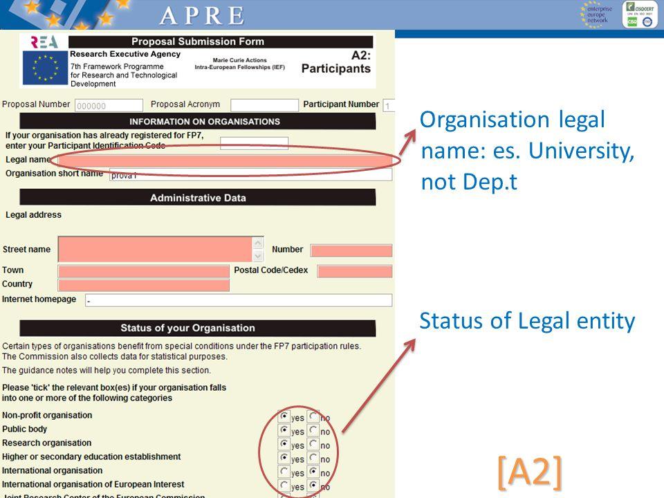 [A2] Organisation legal name: es. University, not Dep.t